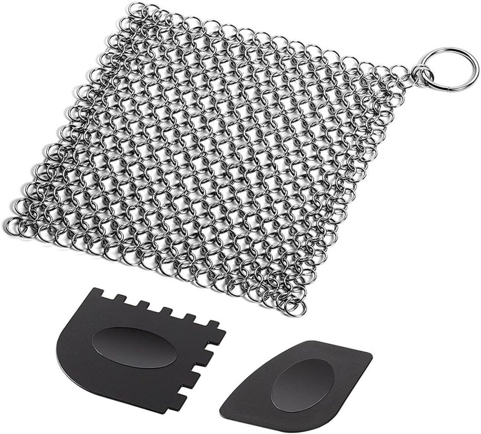 SENHAI - Limpiador de hierro fundido con rejilla de plástico duradero, para chinchetas de 7 x 7 pulgadas, acero inoxidable, para calaveras, rejillas, sartenes o woks y más