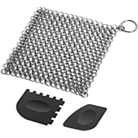 Cast Iron Cleaner with Durable Plastic Pan Grill Scrapers SENHAI 7 x7 inch Stainless Steel Chainmail Scrubber for…