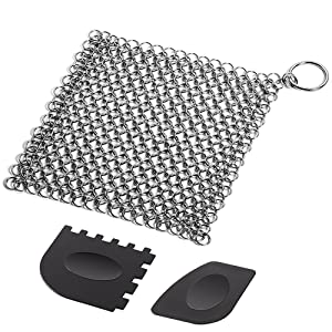 Cast Iron Cleaner with Durable Plastic Pan Grill Scrapers, SENHAI 7 x7 inch Stainless Steel Chainmail Scrubber for Skillets, Griddles, Pans or Woks and More