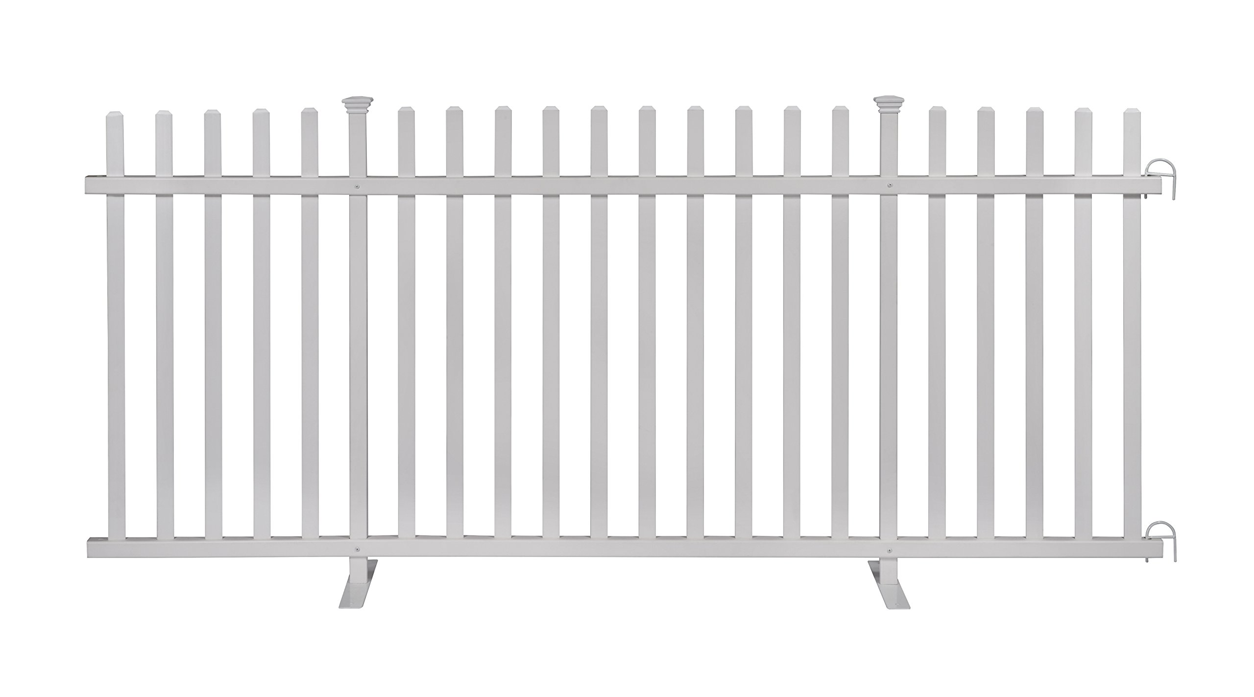 Zippity Outdoor Products ZP19026 Lightweight Portable Vinyl Picket Fence Kit w/Metal Base(42'' H x 92'' W), White