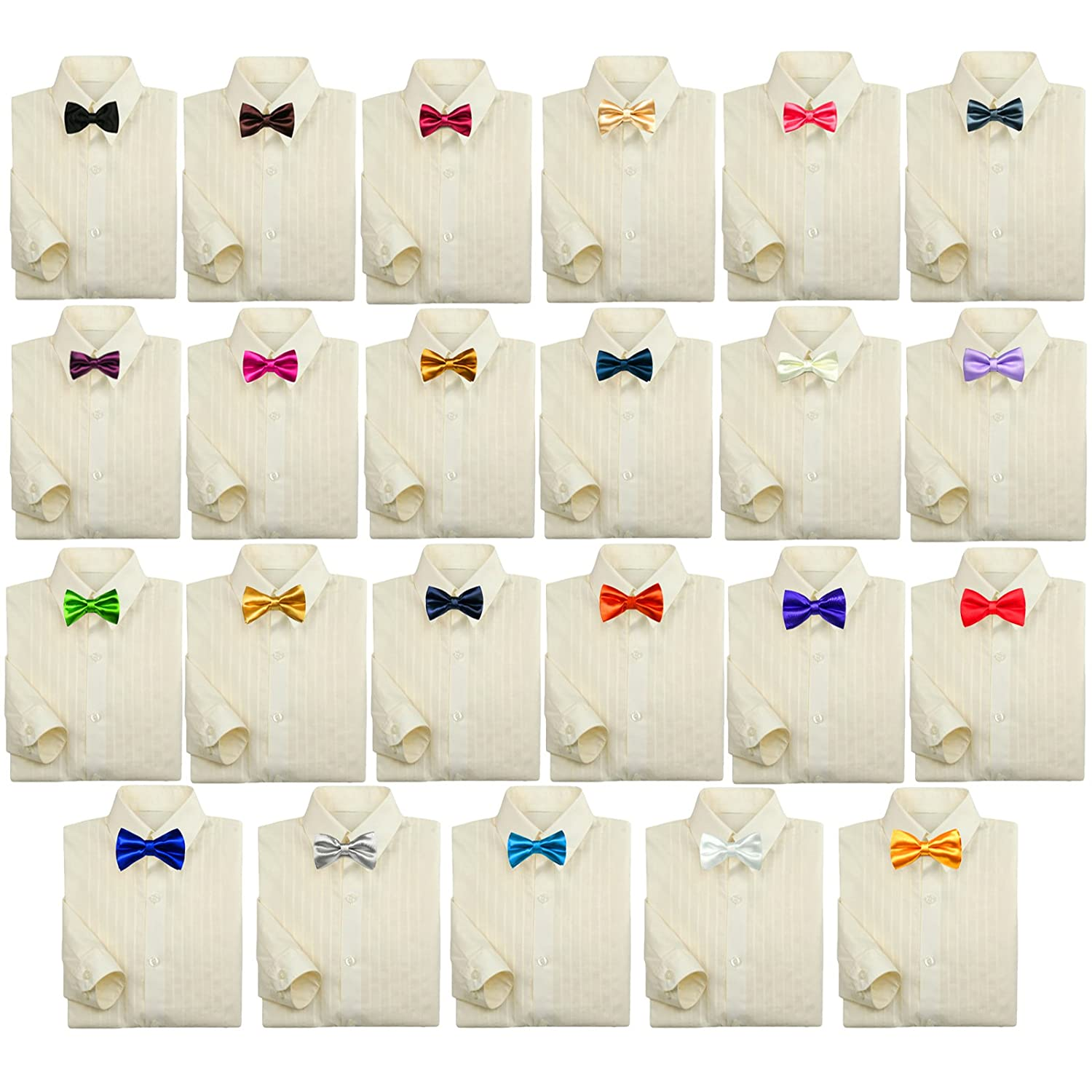 Baby Kids Boy Formal Tuxedo Suit Ivory Button Down Dress Shirt Color Bow tie 0-7