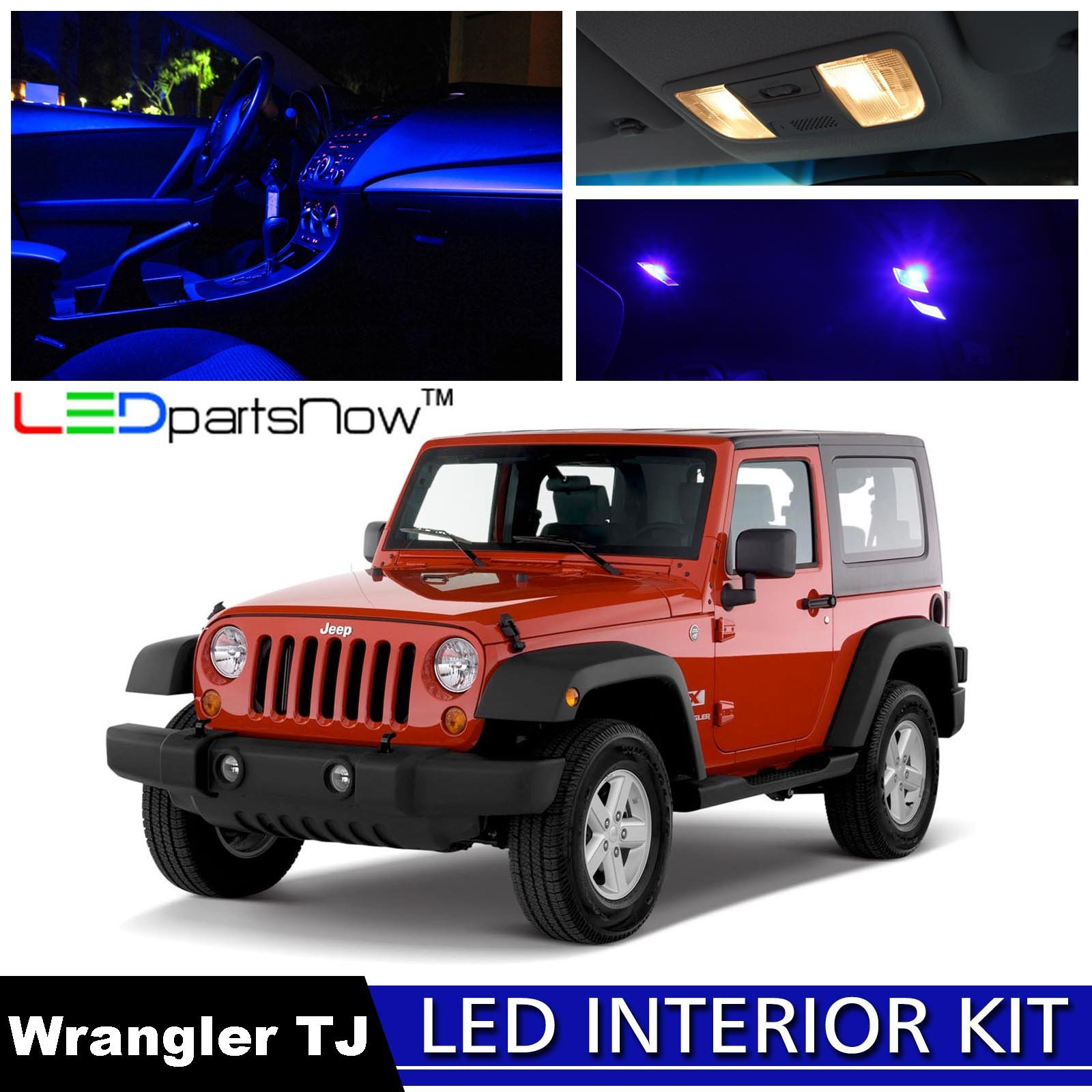 LEDpartsNow 2000-2006 Jeep Wrangler TJ LED Interior Lights Accessories Replacement Package Kit (8 Pieces), BLUE