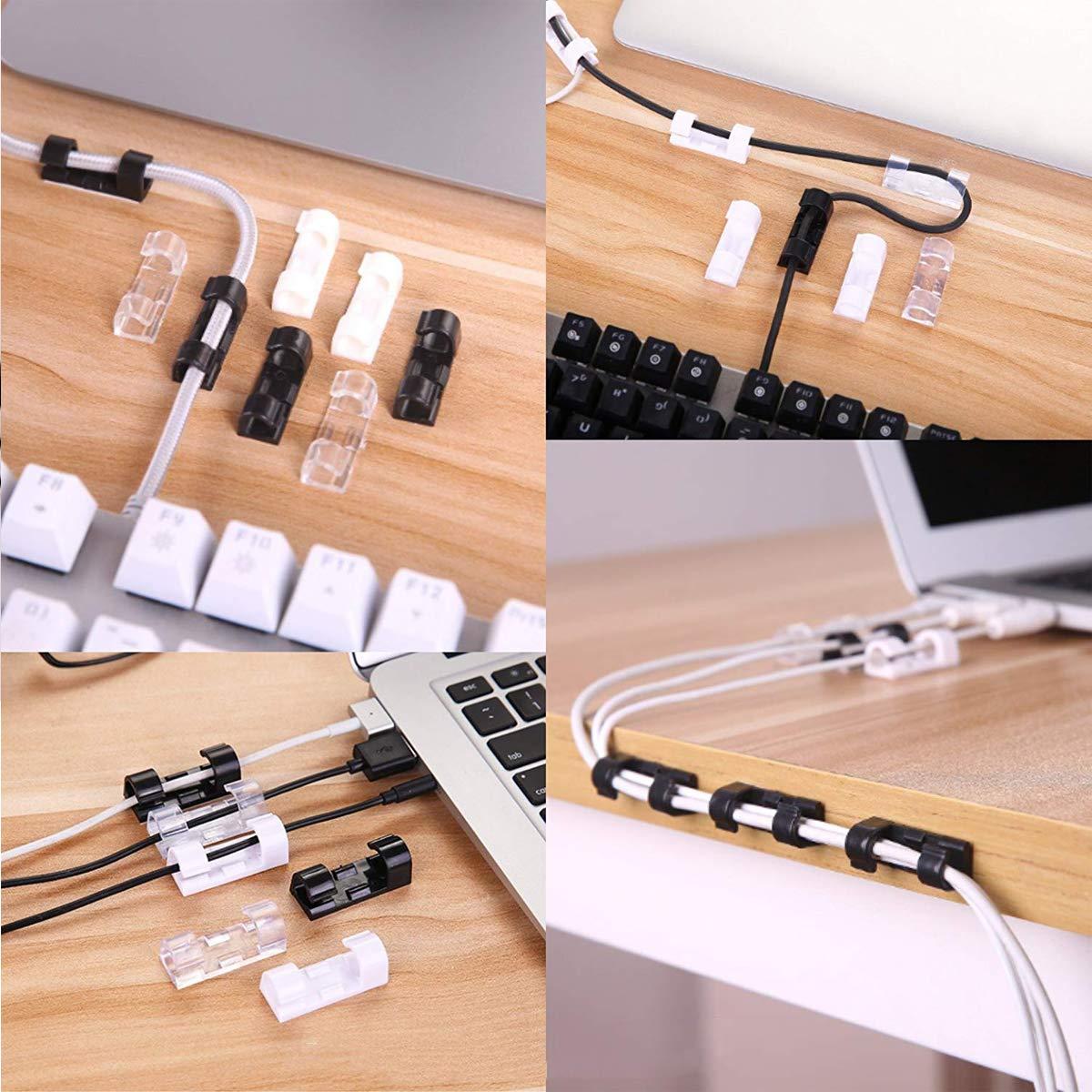 Mengger C/âbles Adh/ésifs R/églable Clips Fils Attache Cable Pince Fil Clamp Ligne Organisateur 80 pi/èces plastique Cravates Fixateur Attache Clip de c/âble