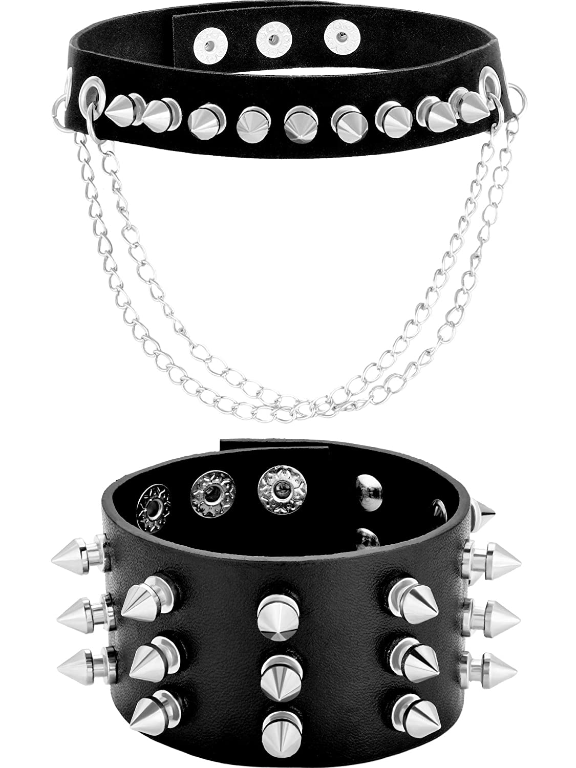 Chuangdi Black Goth Punk Necklace Studded Collar Choker and Metal Spike Bracelet Wide Strap for Men and Women Chuangdi-Choker-1