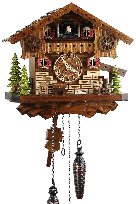 Nero foreste musicale orologio in Legno con battery operated al quarzo e cuculo - offerta di orologi-Park Eble - casetta tipo foresta nera Engstler - 26 cm - 445 Q