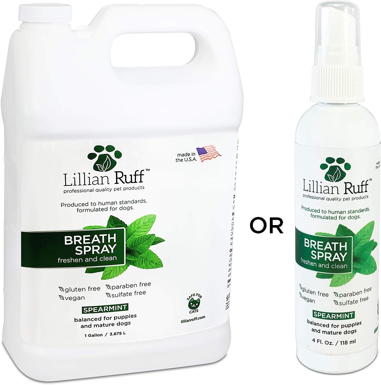 Lillian Ruff Dog Breath Freshener - Bad Breath Treatment for Dogs - Spearmint Flavor Dog Breath Spray- Safe for Cats - Fight Bad Breath, Dental Plaque and Tartar - Boost Immune System