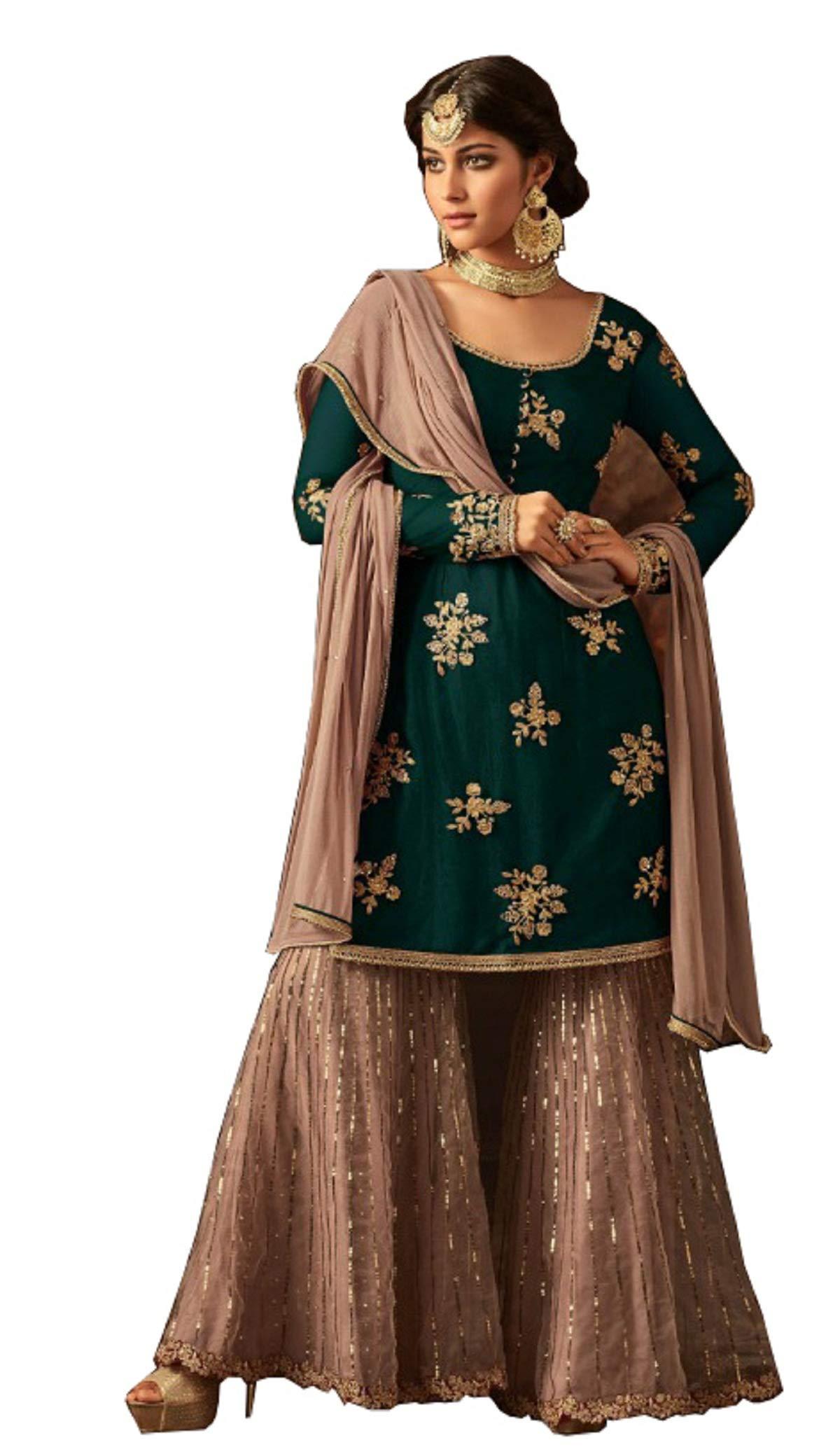 London Collection Indian Pakistani Bollywood Designer Women Ethnic Wear Salwar Kameez Salwar Suit (Green, 10(X-Small))