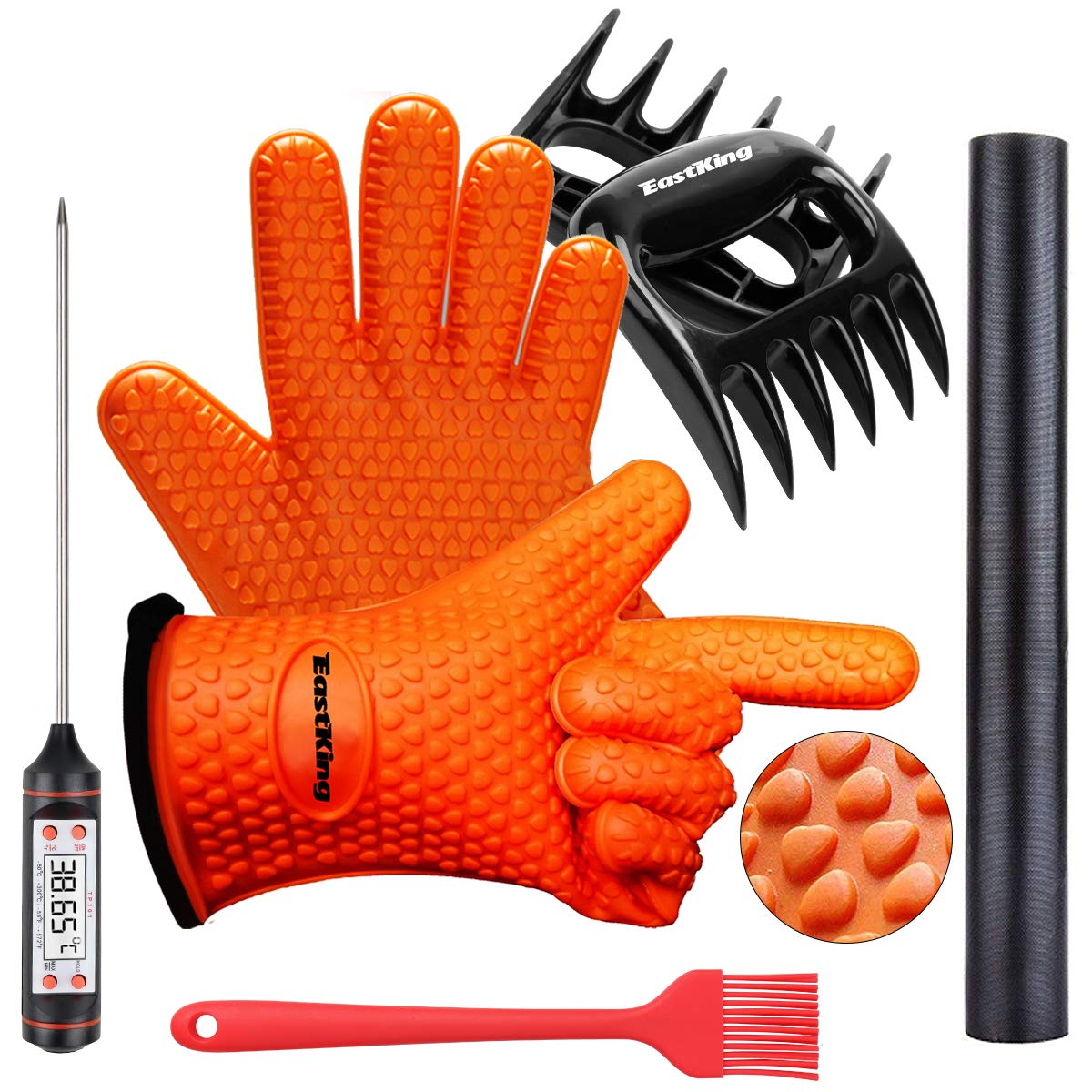 EastKing BBQ Gloves/BBQ Claws/Grill Mat/Meat Thermometer and Silicone Brush Superior Value Premium Set (5pcs Set) - Heat Resistant/Non-Slip/Safe/Cooking/Grilling Silicone Gloves for Indoor & Outdoor 71jB3h7sZHL
