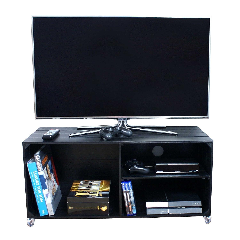 Liza Line Mesa DE Madera, Mueble TV con 3 Compartimentos y Ruedas Giratorias. Mueble Televisor de Pino Nórdico Macizo, Estilo Cajas Vintage con Estantes - 90 x 40 x 42 cm (Negro)