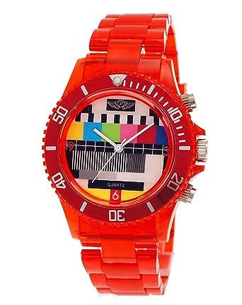 NY London Retro Classic Unisex Testpage Closedown TV Screen Test Pattern Women Men Plastic Bracelet Watch