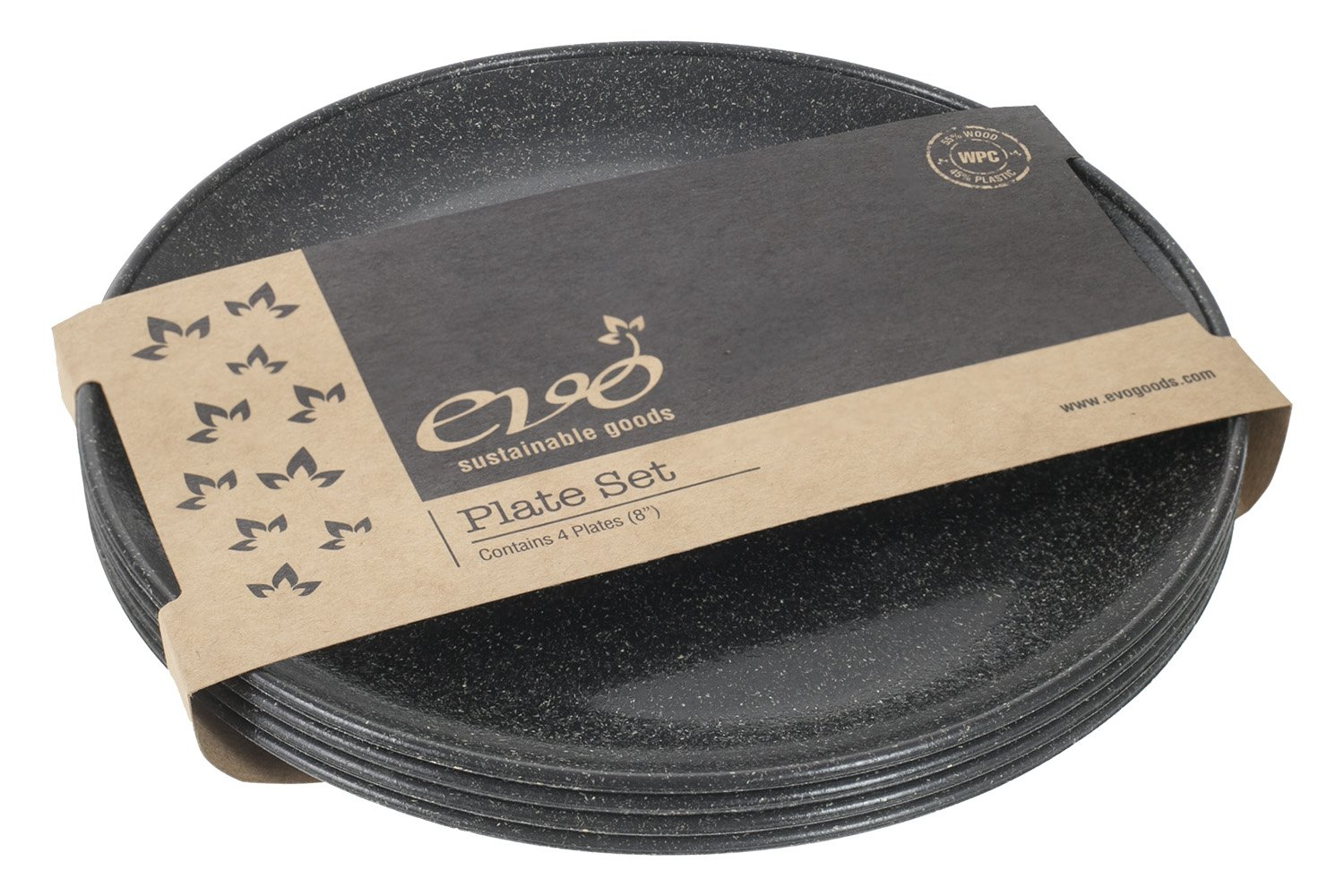 EVO Sustainable Goods 8'' Plate, Set of Four, Black