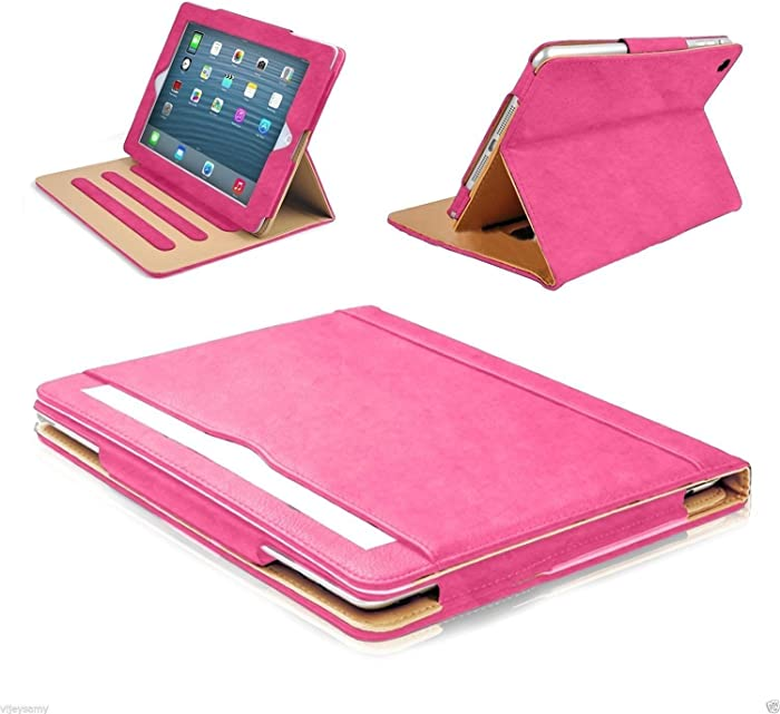 "S-Tech iPad Mini 1 2 3 Case Soft Leather Wallet Magnetic Smart Cover with Sleep/Wake Feature Flip Folio Stand Shockproof Case for Apple iPad Mini 7.9"" (Rose)"
