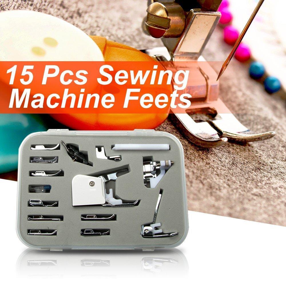 15 pcs multifunción para máquina de coser pie prensatelas pie pies Kit de accesorios Piezas Multifuncionales Prensatelas Accesorios de Máquina de Coser ...
