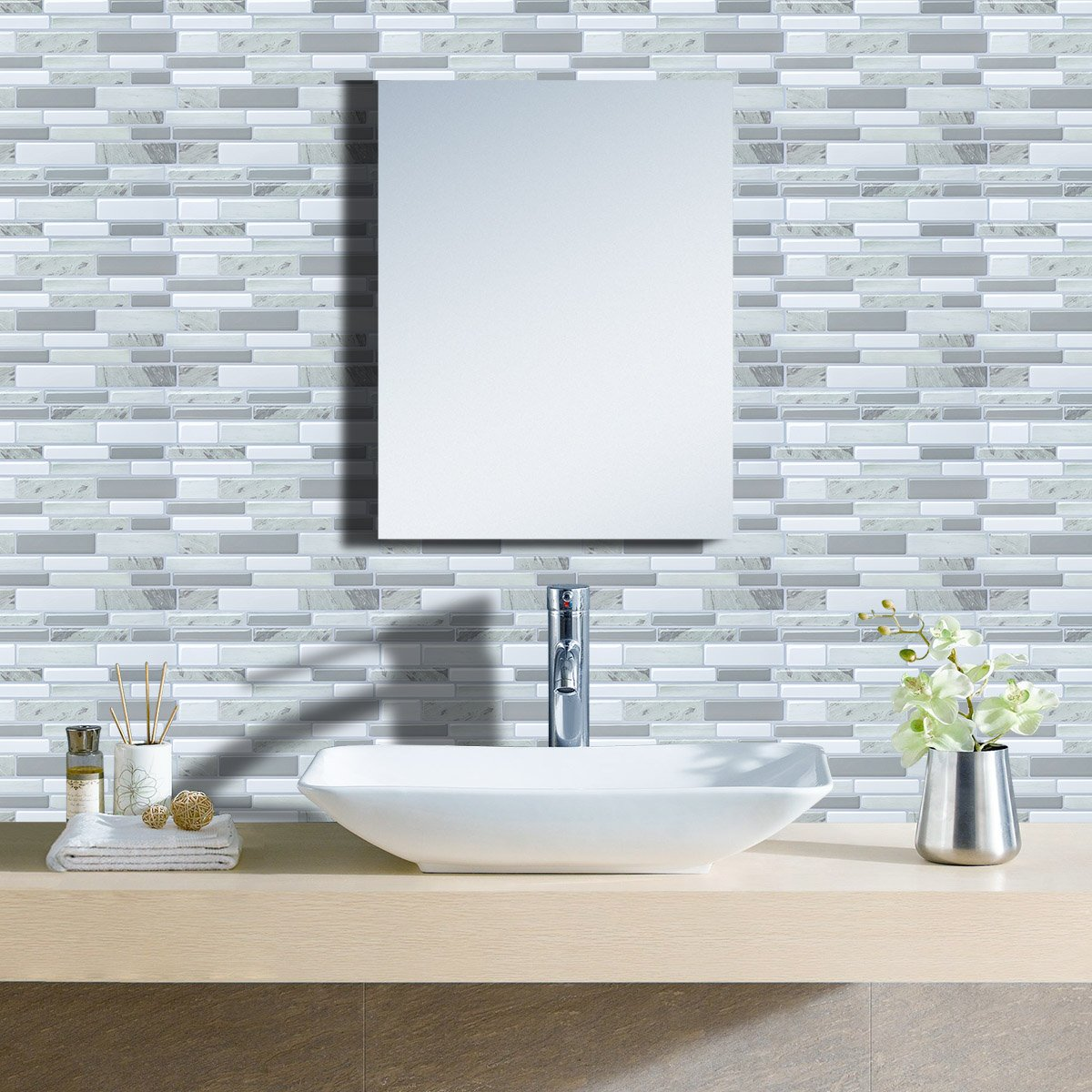 Modern Grey Peel and Stick Subway Tiles, Vinyl Backsplash for ...
