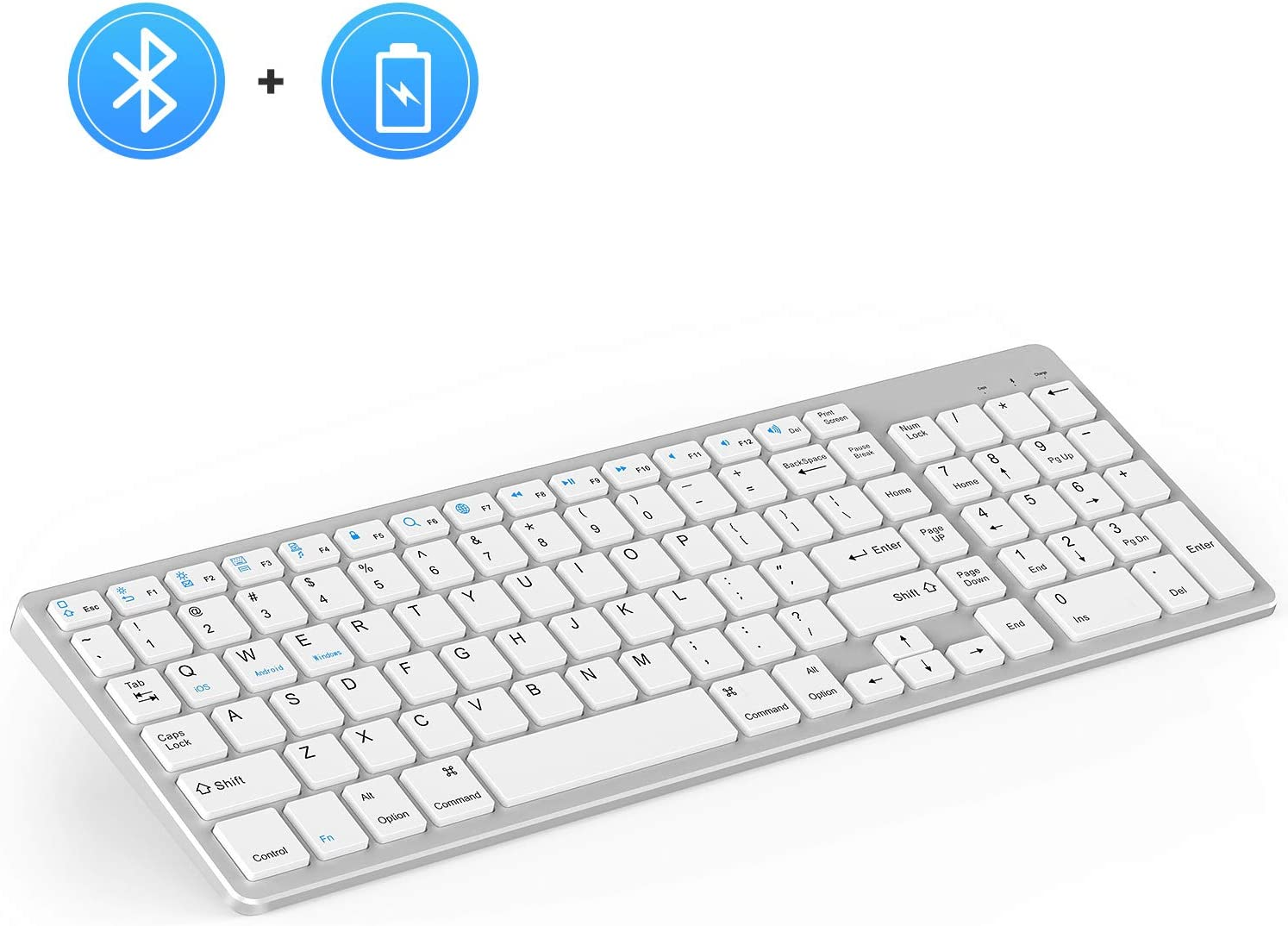 Rechargeable Bluetooth Keyboard, Jelly Comb Wireless Slim Keyboard with Number Pad Full Size Design for Windows iOS Android, Laptop Desktop PC Tablet-White and Silver