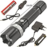 BOOSTY SWAT Multifunction Rechargeable LED 50W Flashlight Torch with LUXEON 3 Watt LED Bulb + AC Adaptor + 12V DC Car Charger + Rechargeable Battery