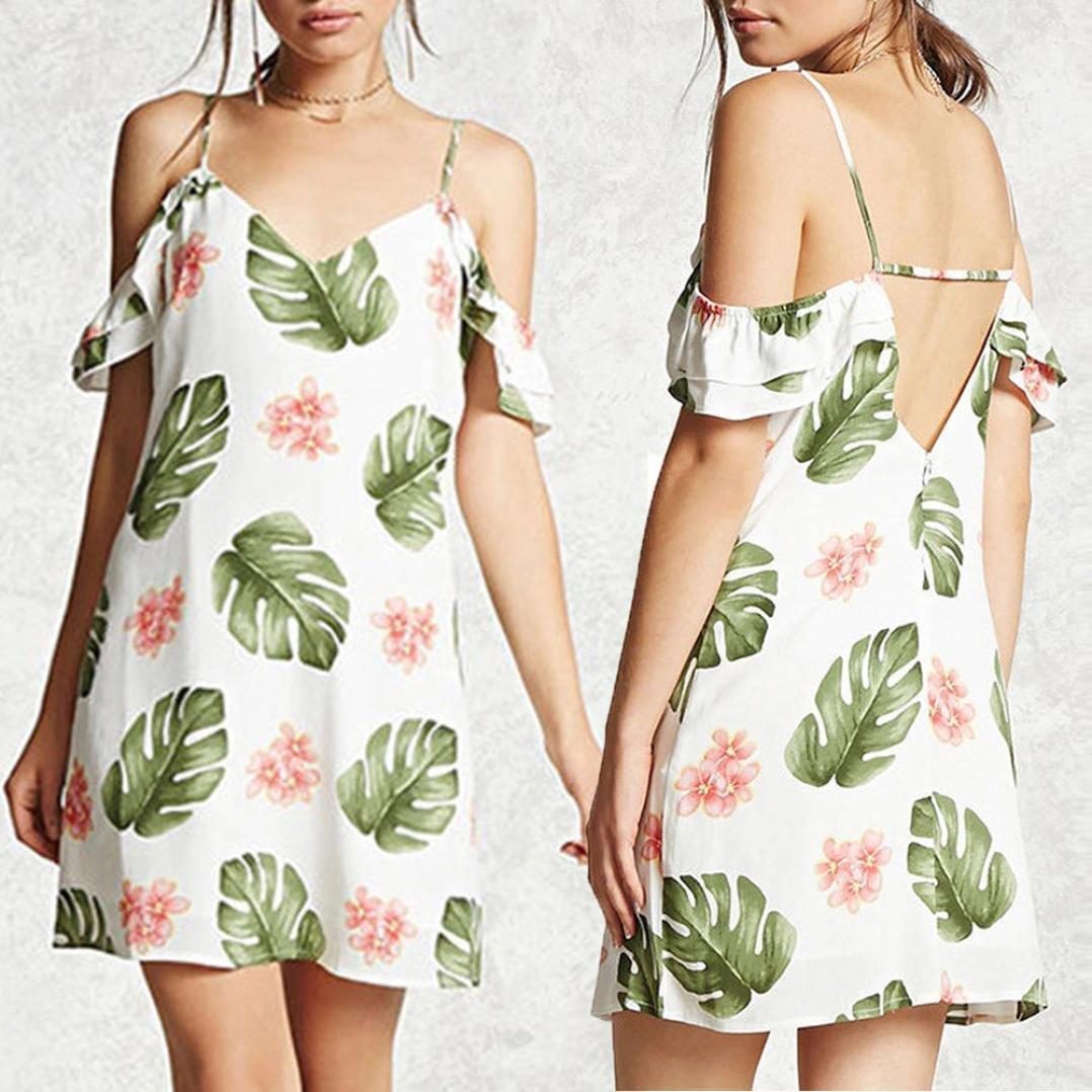 Women Strapless Floral Backless Ruffle V-Neck Shirt Mini Dress Beach Summer (L, Green)