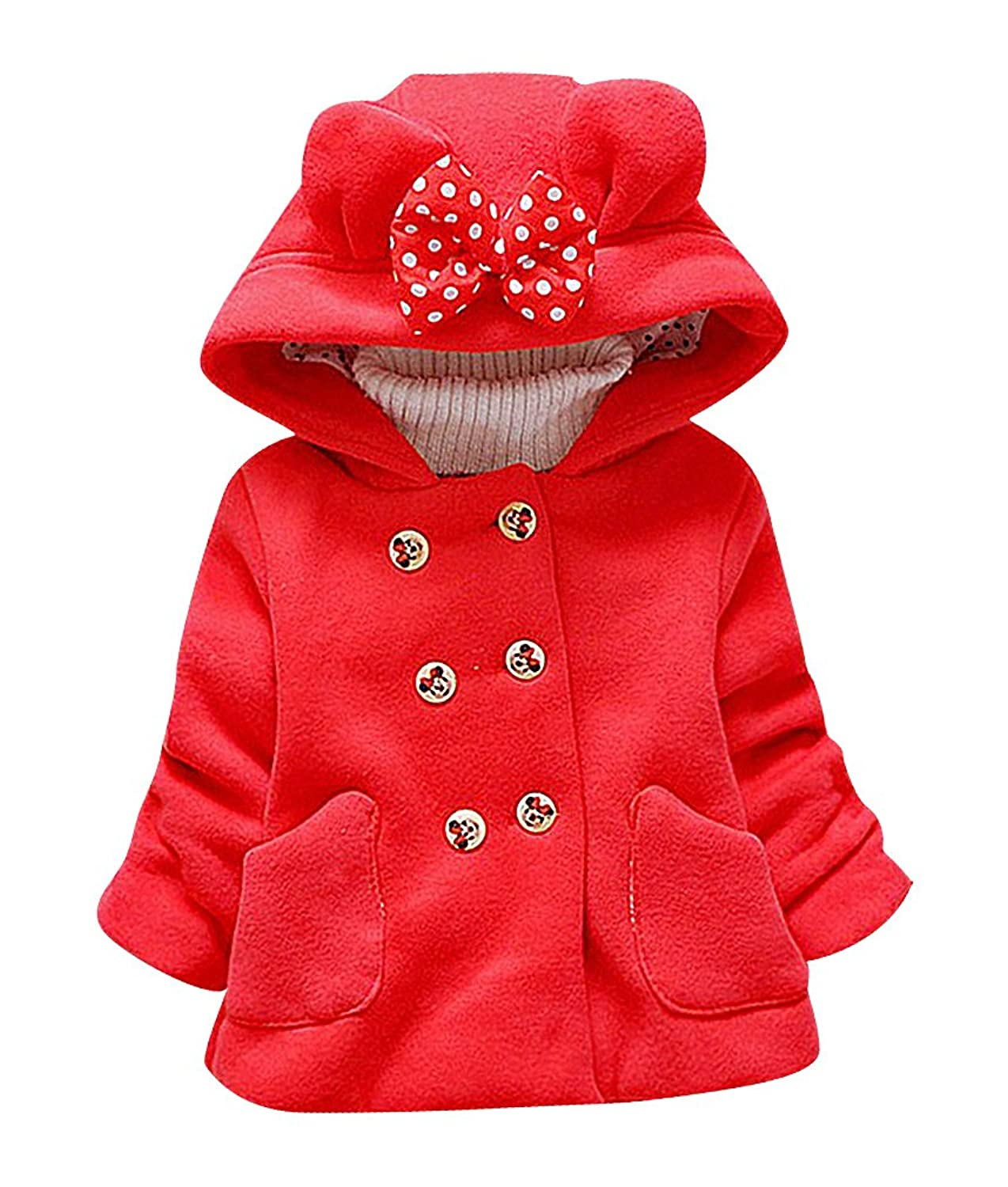 Sweety Baby Girls 1 Color Double Breasted Bow Tie /& Bear Ears Hood Cotton Coat