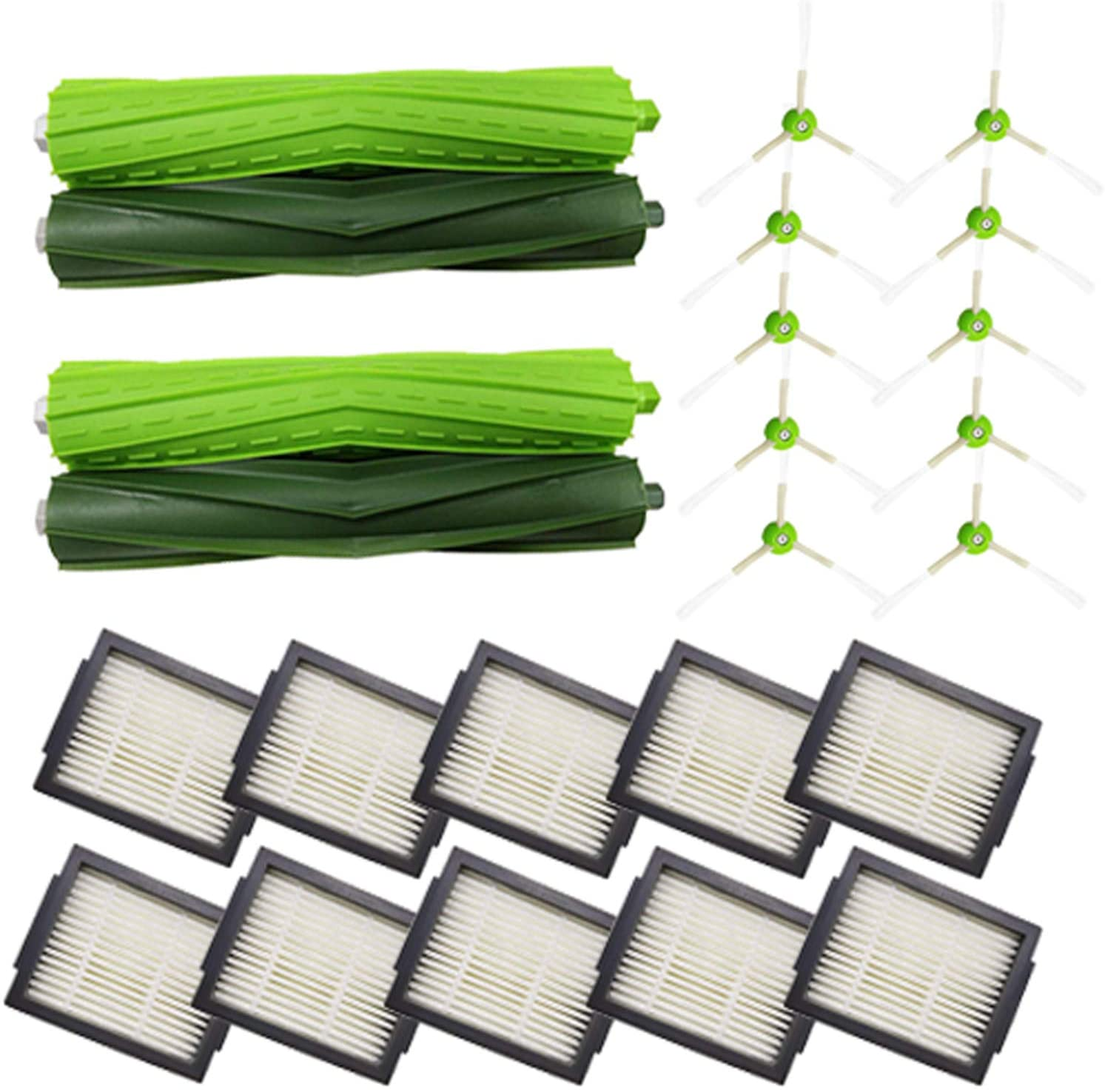 Amyehouse Replacement Parts Kit for iRobot Roomba i7 i7+ Plus E5 E6 Vacuum,Including 2 Set of Multi-Surface Rubber Brushes & 10 High-Efficiency HEPA Filters & 10 Edge-Sweeping Side Brushes