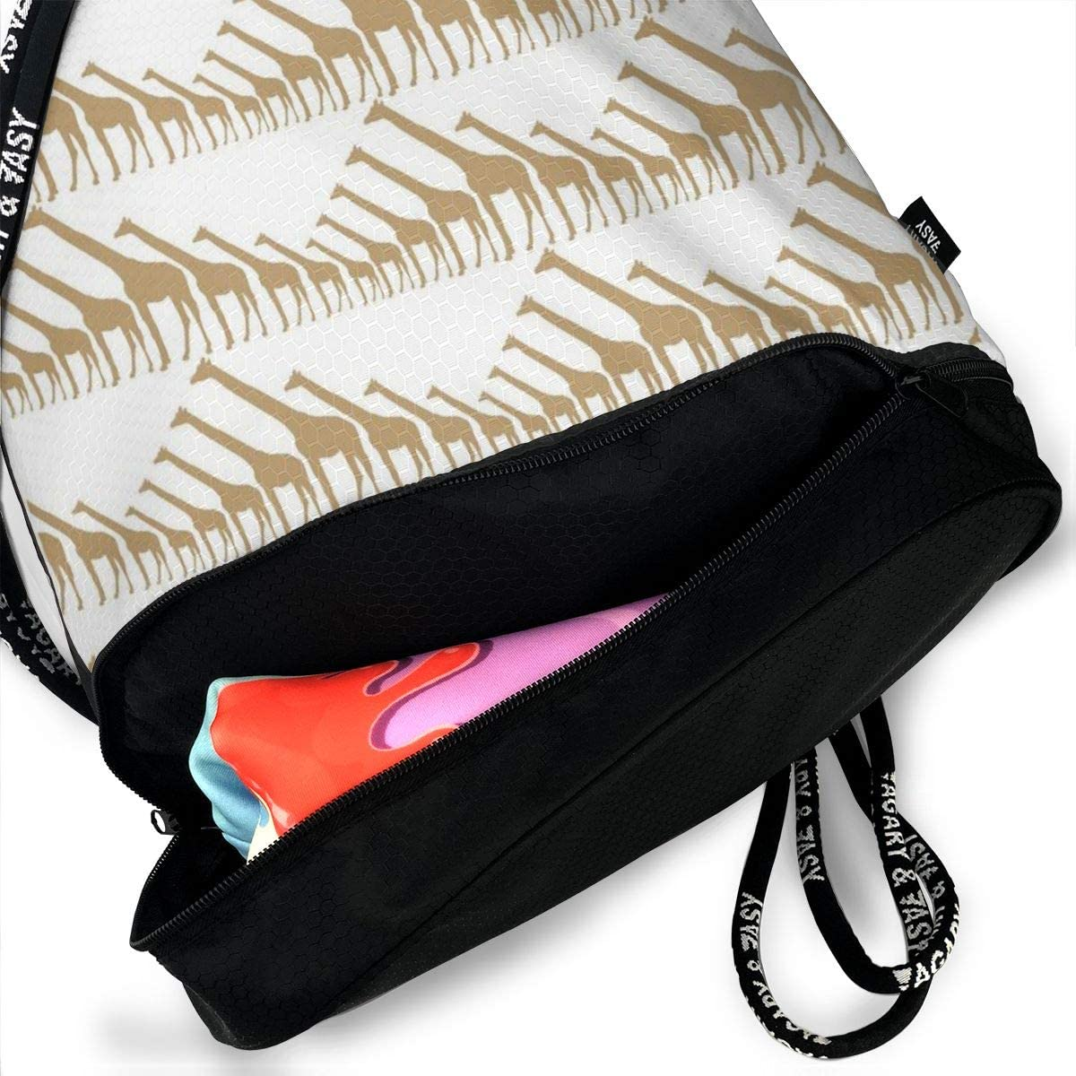 GymSack Drawstring Bag Sackpack Giraffe Print Sport Cinch Pack Simple Bundle Pocke Backpack For Men Women