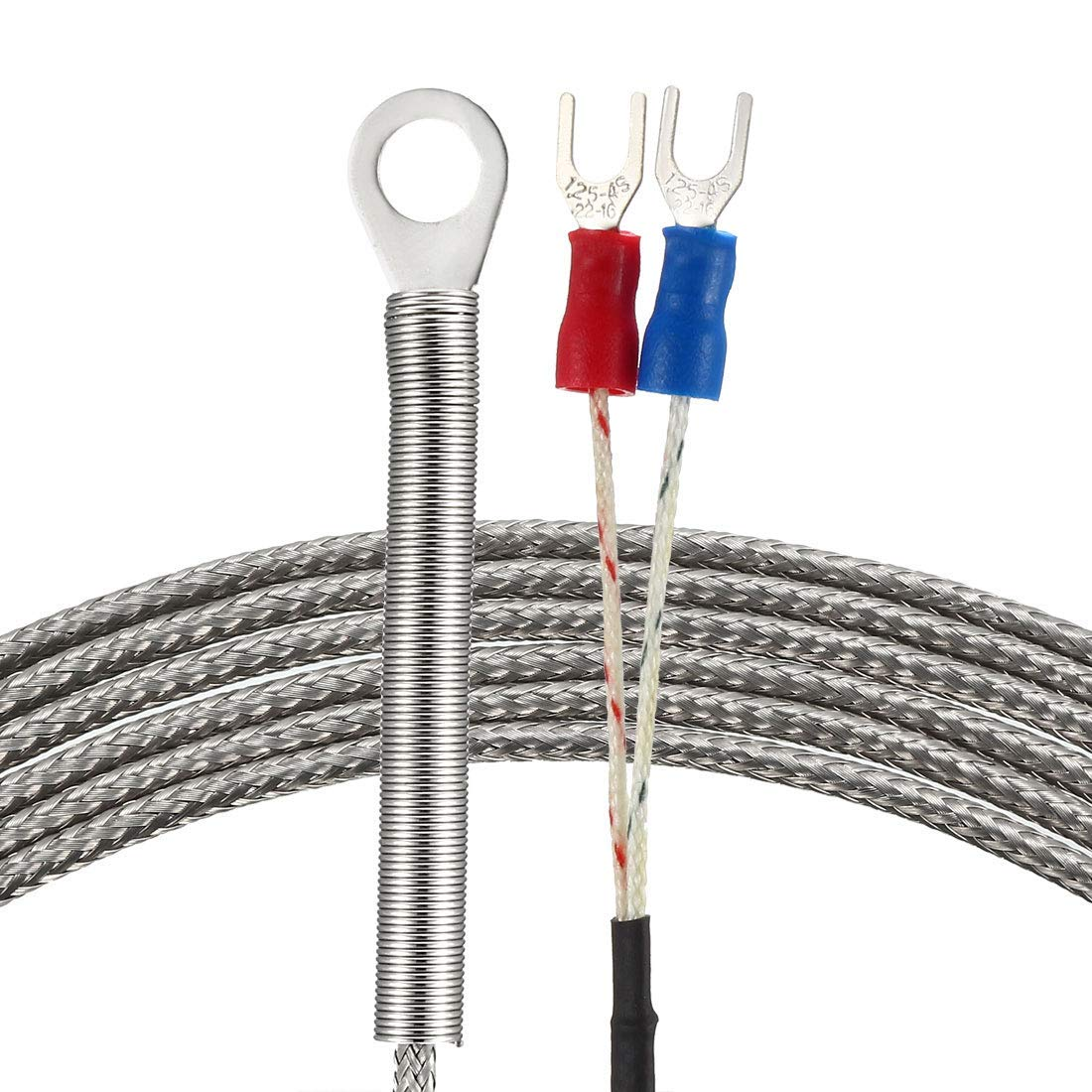 0-400C E Type thermocouple Temperature Sensor Probe with 5M Cable 6mm Hole Spring 32-752F