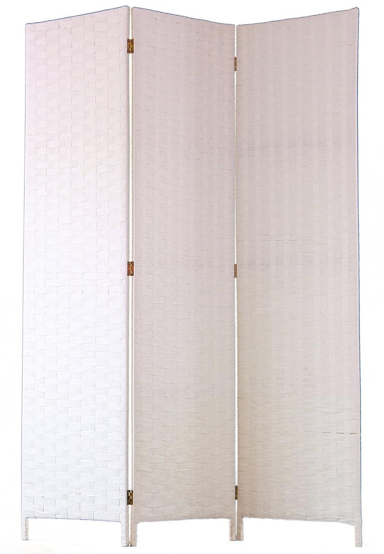 Dim PEGANE Paravento di 3 Pannelli in Fibre Naturale Colore Bianco A180 x L135 cm