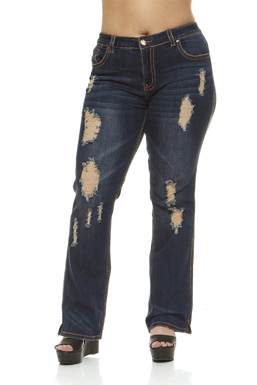 V.I.P.JEANS Women's Bell Bottom, Dark Denim, Plus Size Jeans, Distressed, Sand Washed 1-7115DB-7