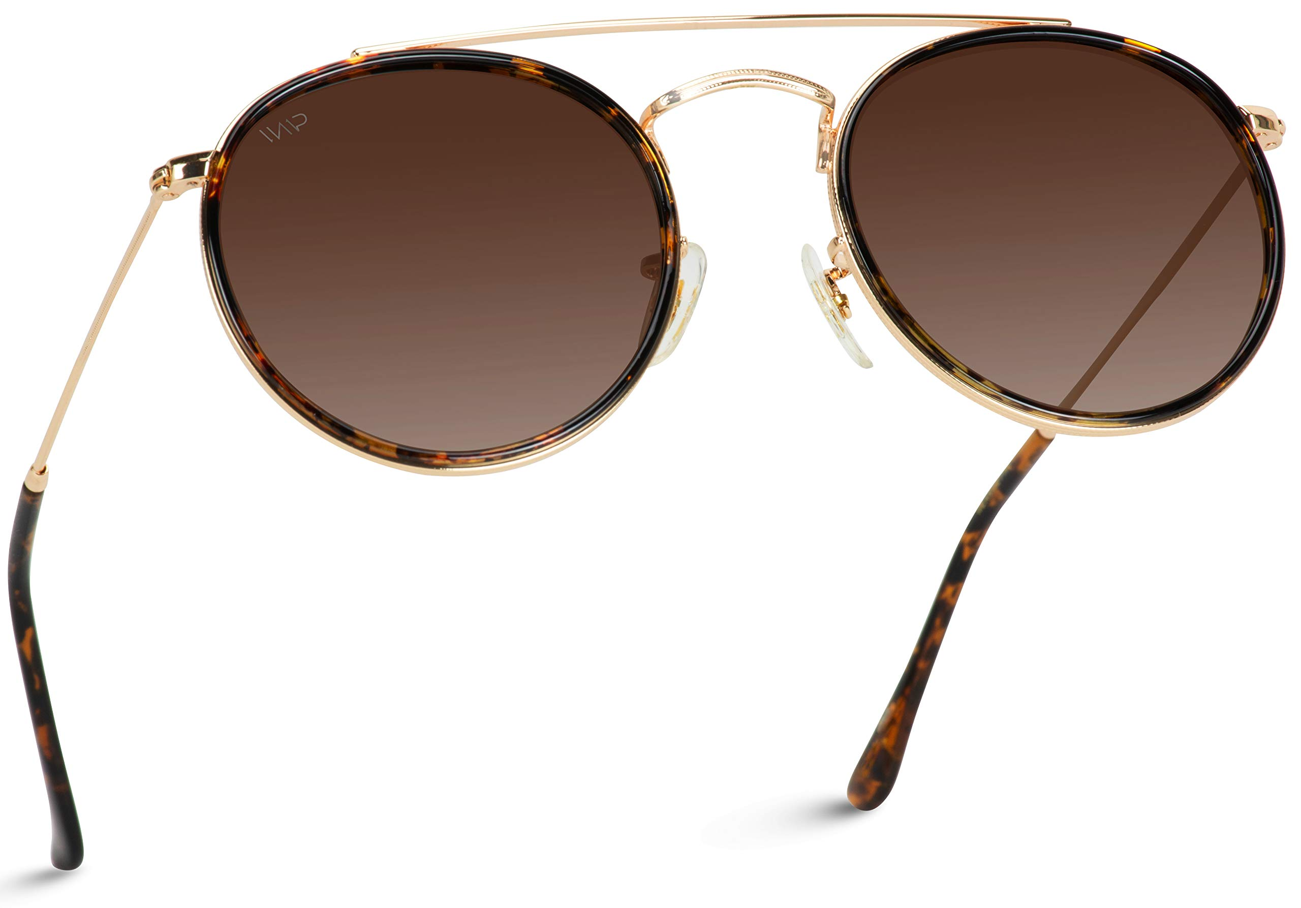 WearMe Pro - Round Double Bridge Polarized Modern Retro Sunglasses (Gold Frame/Brown Lens, 53) by WearMe Pro