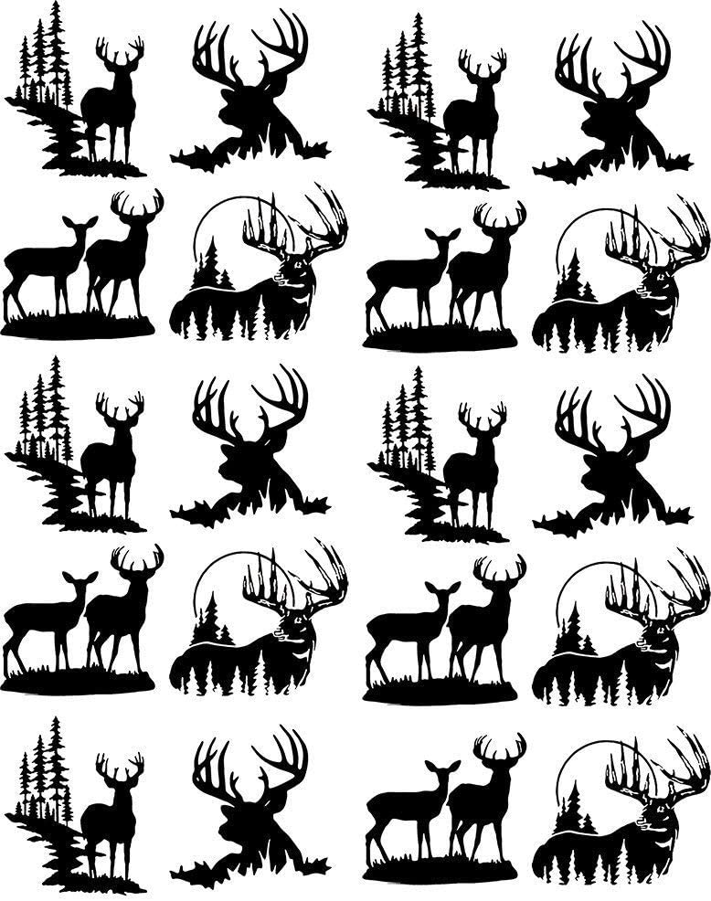 Glass Decal or Glass Fusing Decals Enamel Waterslide Decal Ceramic Decal Deer Silhouettes 3 Different Size Sheet Images Choose Either Ceramic Enamel Decal 89296 to Choose from