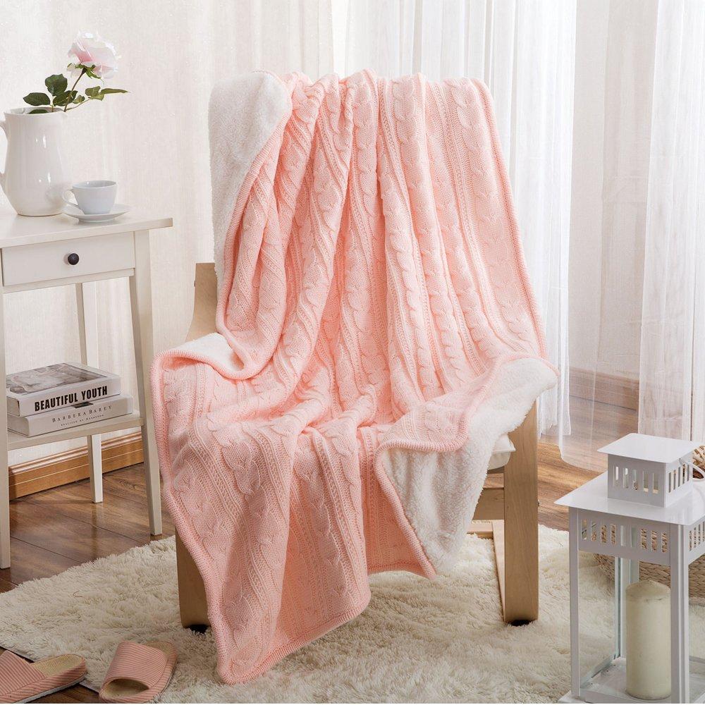 Warm Soft Kuscheldecke Baumwolle gestrickt Kaschmir wie wie wie Überwurf Bett Sofa Chair Couch Decke Tagesdecke rot 120 x 180 cm 9 Farben Farbe 8 9a2093