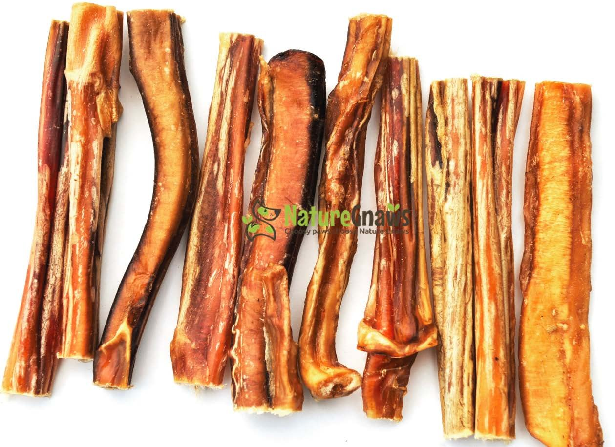 Nature Gnaws Large Bully Sticks - 100% All Natural Grass-Fed Free-Range Premi