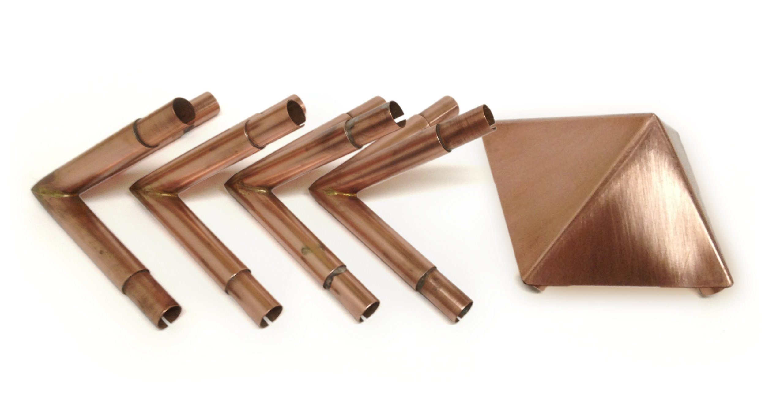 Polished Copper Buddha Maitreya the Christ 51 Degree Meditation Pyramid Connector Kit with 4'' Capstone - Fits 1/2 Inch Copper Poles (Poles Not Provided)