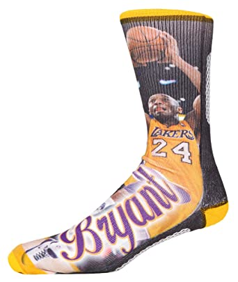 new product 789b3 24fbd Kobe Bryant Los Angeles Lakers NBA Player Sublimation Crew Socks
