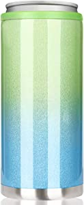 Skinny Can Cooler for Slim Beer & Hard Seltzer, Beverages and Soda | 12oz Slim Cans | Stainless Steel Double Wall Vacuum Insulated Drink Holder (Blue-Green Gradient)