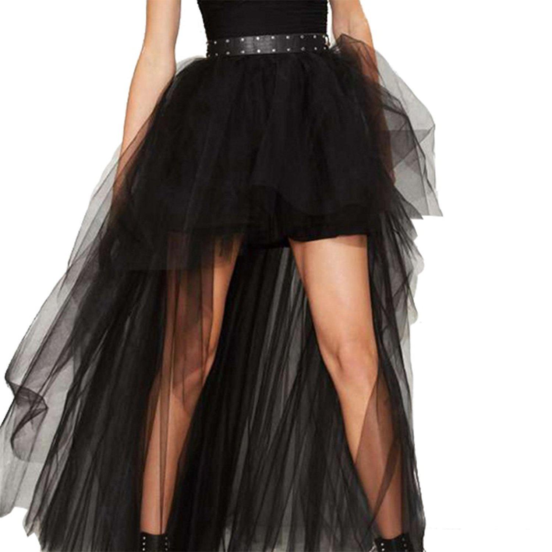 HaoDuoYi Womens Mesh Tulle High Low TuTu High Waist Wedding Skirt(M,Black)