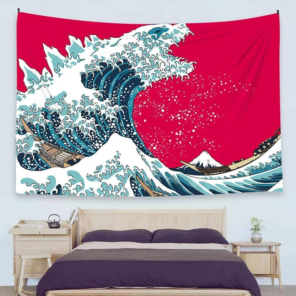 "Ofat Home Japanese Hokusai Creative Godzilla The Great Wave Painting Artistic Tapestry Wall Hanging, Wonderful Nature Scenic, Fiber Fabric Home Wall Decor Poster, 59""x78.7"""