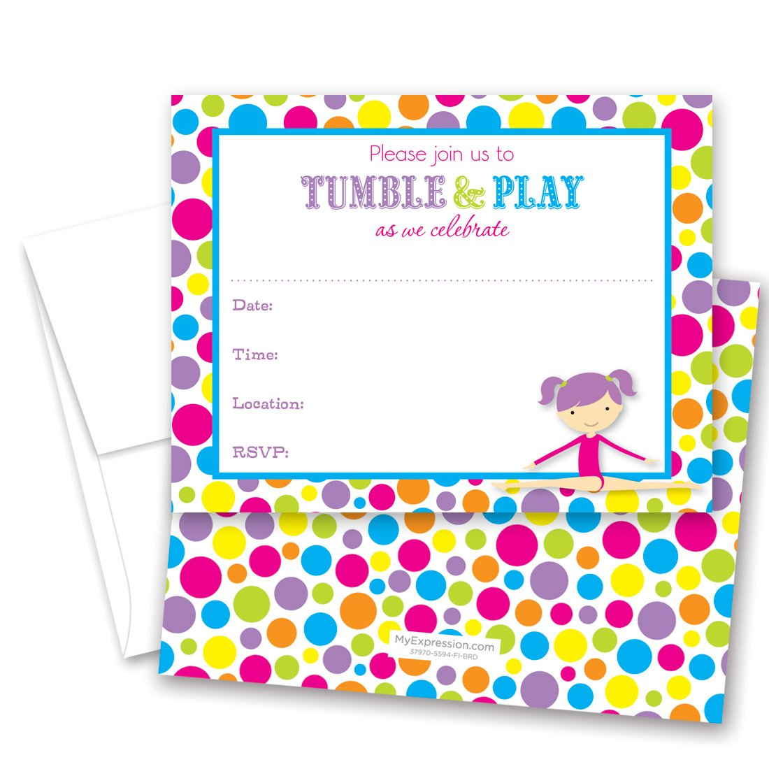 24 Gymnastics Girl Bright Polka Dots Border Fill in Birthday Invitations