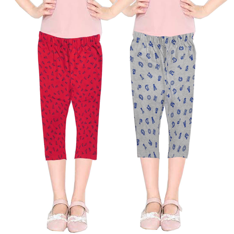 Buy PP Jeans Capri Pants - 3/4 Cotton Printed Capri Jeggings Pants for Girls(Pack  of 2) at Amazon.in