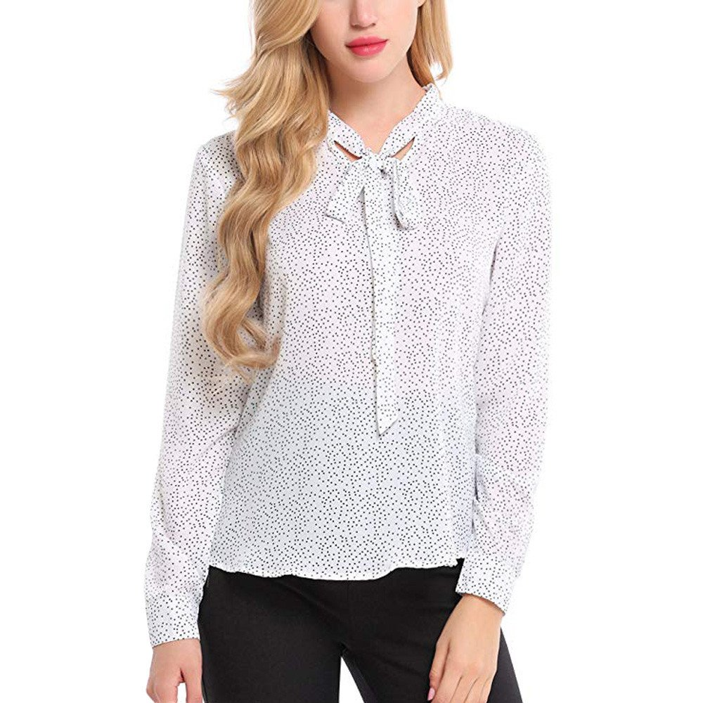 Blouse For Women-Clearance Sale, Farjing Autumn O Neck Long Sleeve Polka Dot Chiffon Top Casual Blouse Tops T-Shirt(US:10/XL,White)
