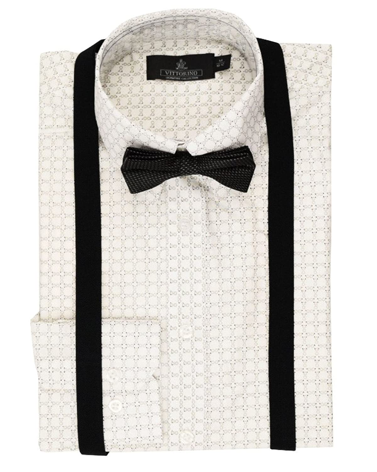 4c83c3e98 Shirt 55% cotton 45% polyester. Bow tie is pre tied and adjustable neck.  Durable long lasting suspenders with double clips for a strong hold on the  pants