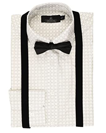 7dd8a6d34 Vittorino Mens Dress Shirt With Matching Bowtie and Suspenders Set ,Black/White,Small
