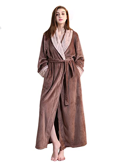 a3562074966 BELLOO Ladies Winter Flannel Dressing Gown Fleece Bathrobe Full Length  Loungewear  Amazon.co.uk  Clothing