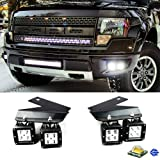 iJDMTOY 4x CREE High Power LED Fog Light Kit w/ Lower Bumper Mounting Brackets For 2010-2014 Ford Raptor ONLY