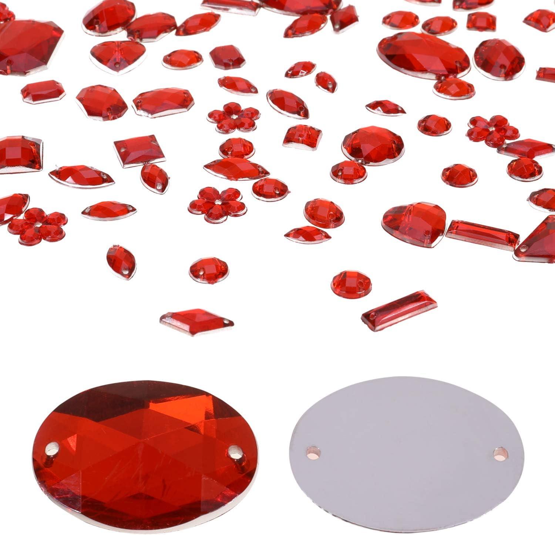 con Tijera de Costura Varios Tama/ños y Formas Agujas y Cord/ón Kit de Piedras Decorativas MWOOT 700 Piezas Diamantes de Acr/ílicas para Decorar Prendas Ropa Manualidades Rojo Perlas
