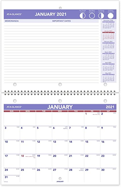 2021 Wall /& Desk Calendar by AT-A-GLANCE PM1702821 Wirebound Small 8-1//2 x 11