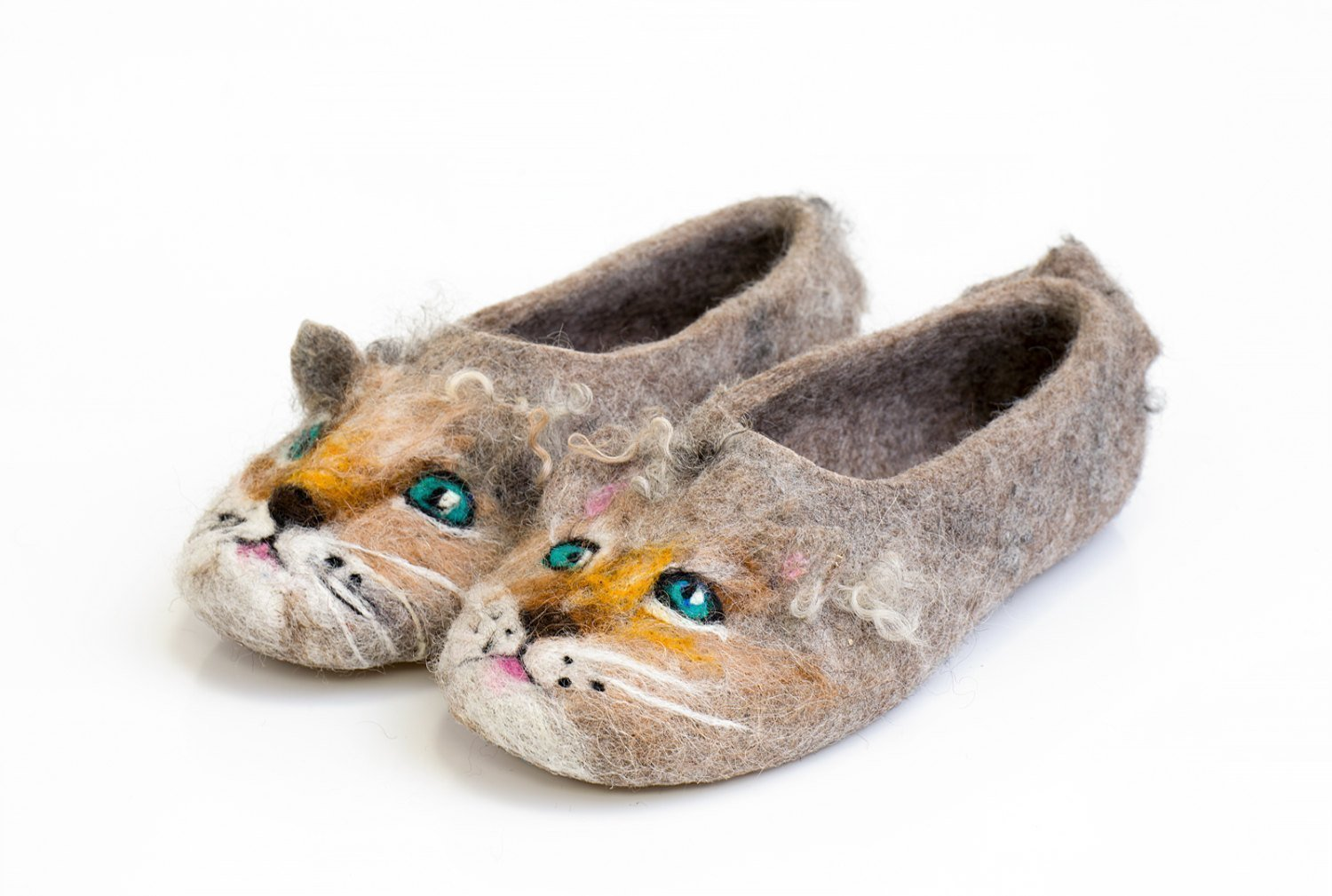 BureBure Cat Lover Felted Wool Slippers for Boys and Girls Handmade in Europe