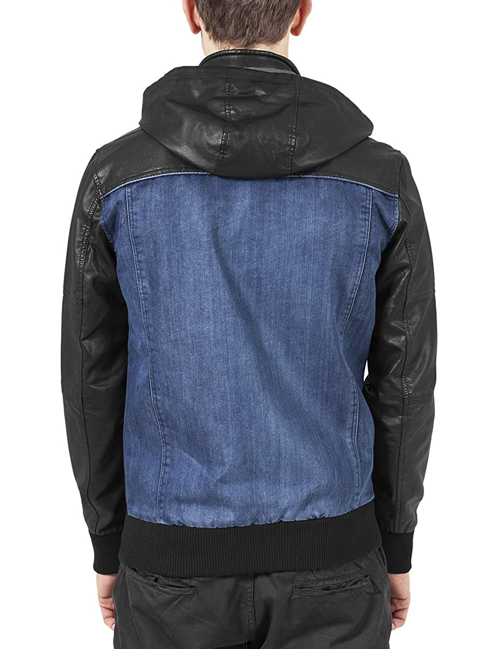 Urban Classics Mens Hooded Denim Leather Jacket at Amazon Mens Clothing store: