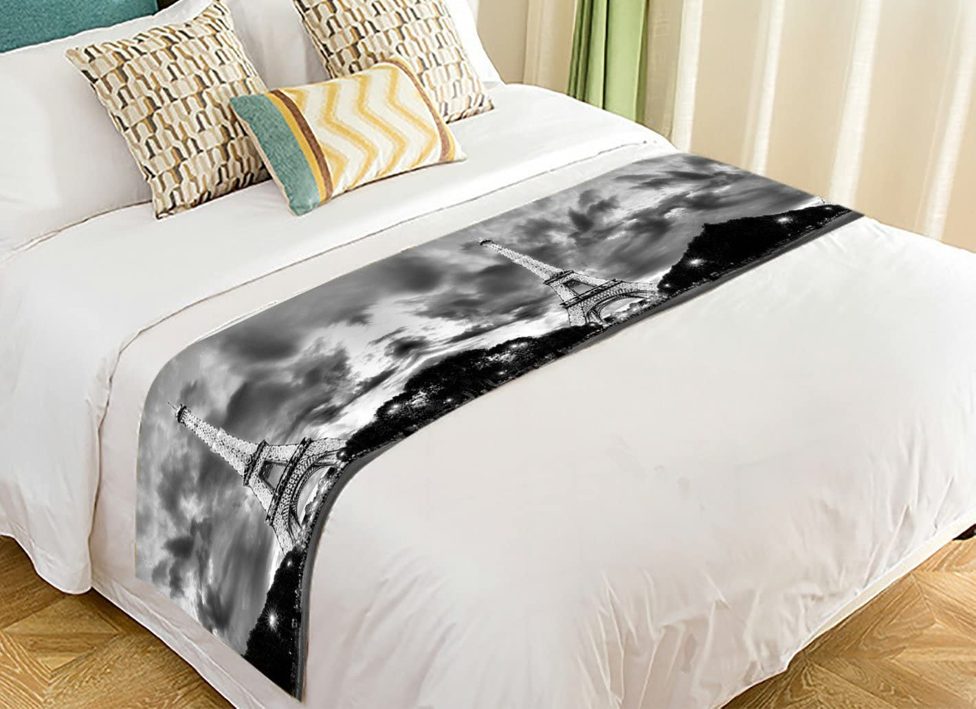 Paris Eiffel Tower Black and White Bed Runners And Scarves Bed Decoration 20x95 inch PicaqiuXzzz Custom City Landmark Bed Runner