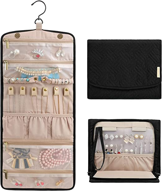 Brooches Travel Jewelry Roll Organizer Bag Bracelets Watches for Women Travel Work Shopping Journey Nylon Foldable Jewelry Case Purse for Earrings Necklaces