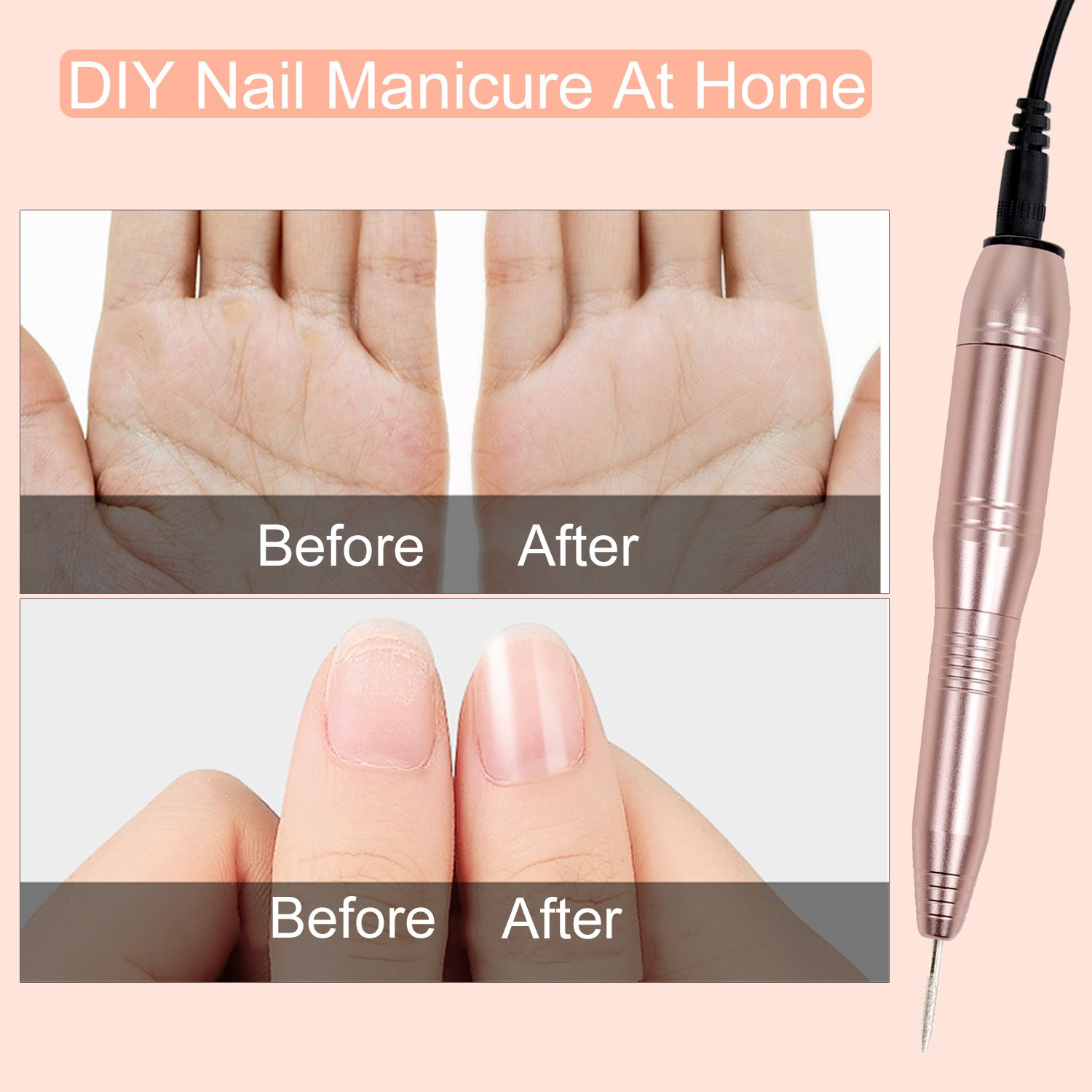 ECBASKET Electric Nail Drill Portable Nail Drill Machine Electric Acrylic Nail File Manicure Pedicure Kit Handpiece Grinder for Acrylic Gel Nails with 3 Nail Brushes for Nail & Grinder Bits Cleaning by ECBASKET (Image #4)